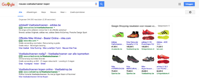 Voorbeeld AdWords en Google Shopping